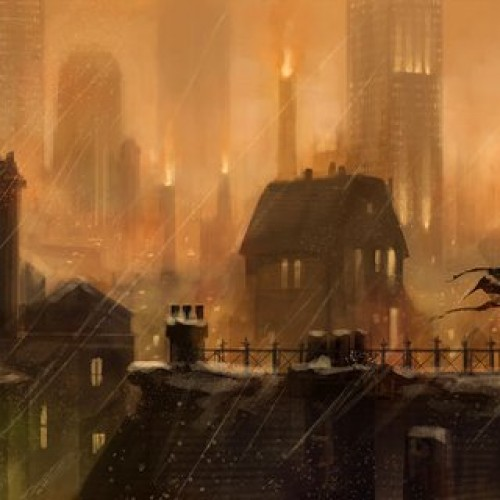 Batman Watches Over Arkham City in this Concept Art