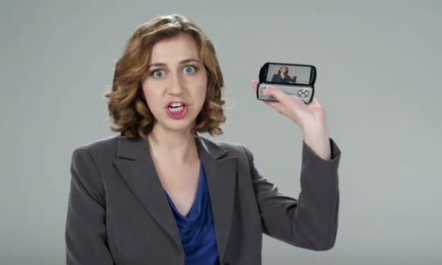 """Daily Show's Kristen Schaal """"Blows S@$# Up!"""" with the New PSP Phone"""