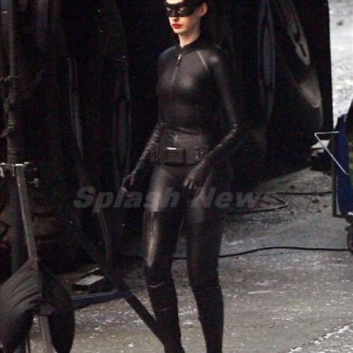 Anne Hathaway with Cat Ears on Dark Knight Rises Los Angeles Set