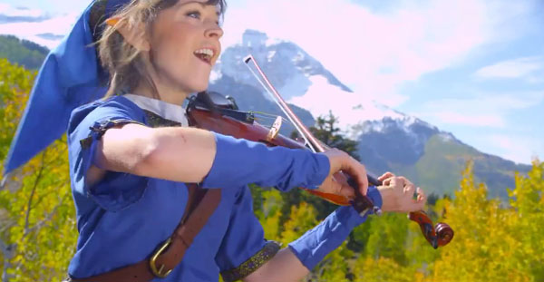 Lindsey Stirling Zelda Link Outfit Zelda Music…Check. Female Link Cosplay…Check. Female Link Playing Violin to Zelda Music…Triple Check!