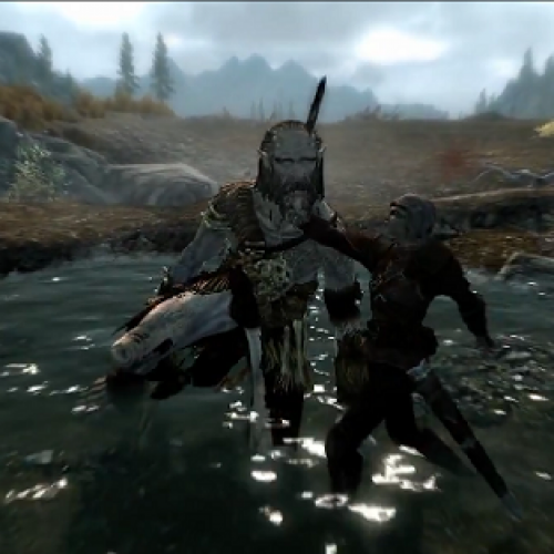 Skyrim's Brutal Death Animations and Detailed World on Video