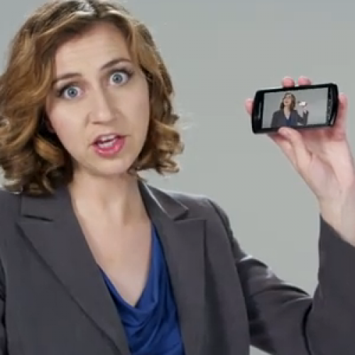Kristen Schaal shows off her juggling skills while playing the Xperia