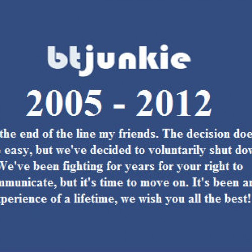 RIP BTJunkie – Your addiction is now over