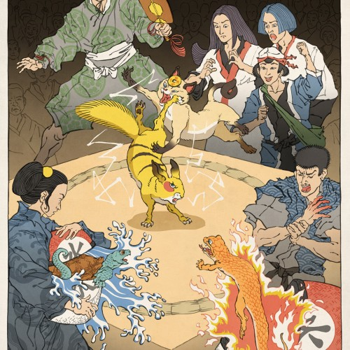 Ukiyo-e illustrations of video games