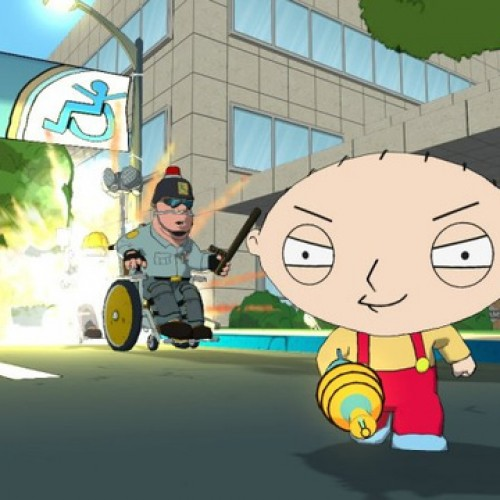 Stewie Griffin takes on Frat Boys, the Amish and the disabled in Family Guy: Back to the Multiverse