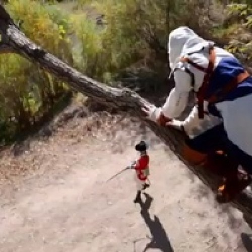 Assassin's Creed 3's Connor takes a run through the forest parkour-style in live action