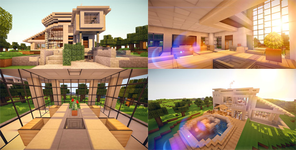 Minecraft   Modernhouse4. Two Minimalistic House Designs.