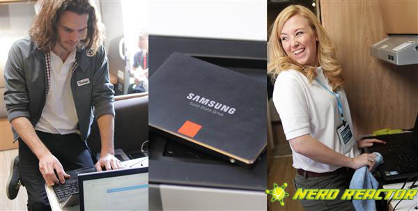George and Matty from Team Samsung and the SSD's that they installed into some lucky laptops.