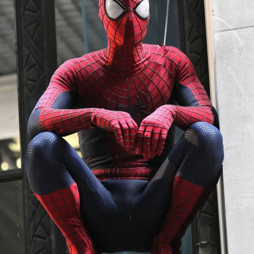 Hi-res look at Spider-Man on the set of Amazing Spider-Man 2