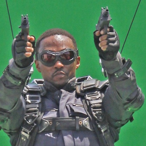 Anthony Mackie as Falcon with no wings on the set of Captain America: The Winter Soldier