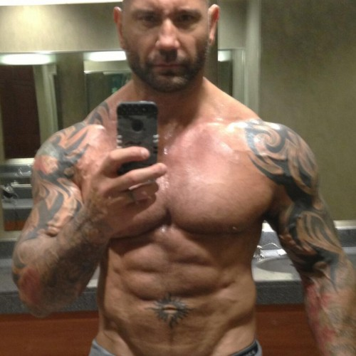 Dave Bautista shows off his body and is ready for Drax the Destroyer in Guardians of the Galaxy
