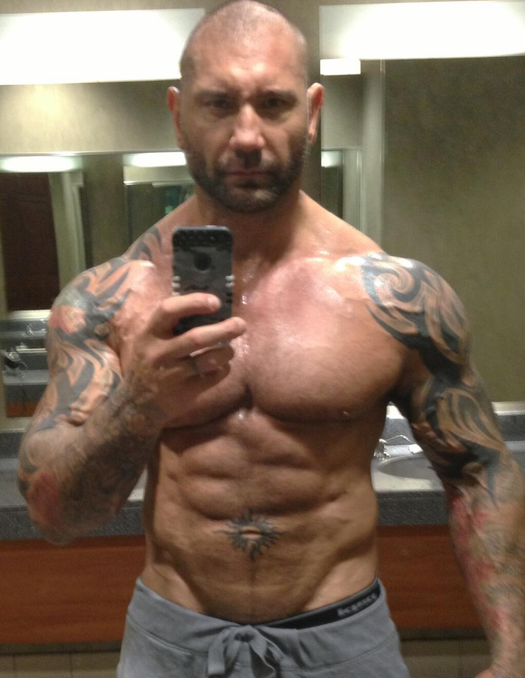 Dave Bautista shows off his body and is ready for Drax the