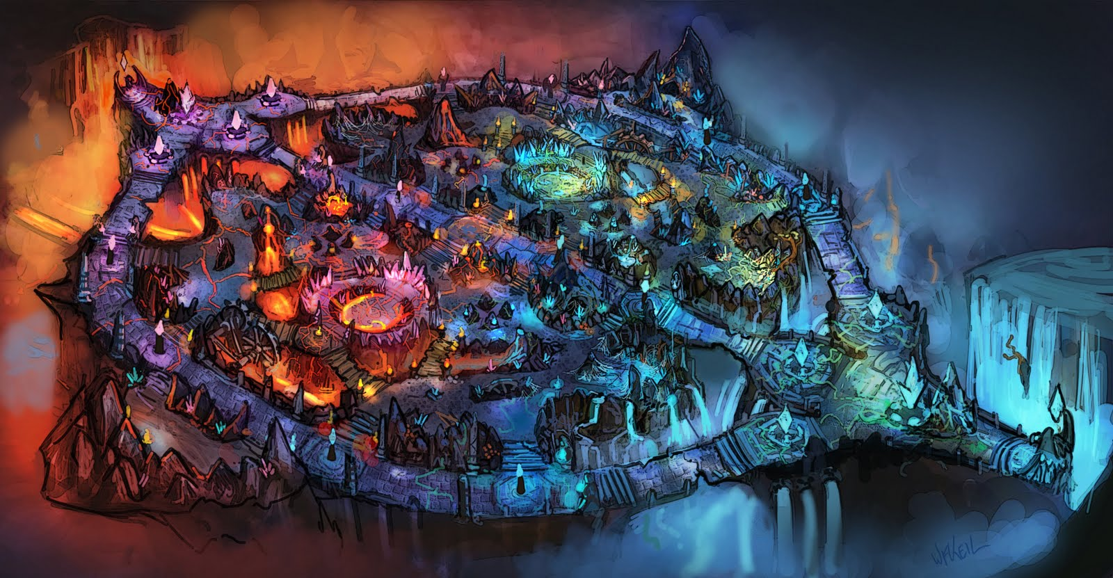 Concept art for the cancelled 5v5 Magma Chamber