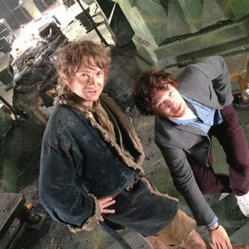The Hobbit: Martin Freeman and Benedict Cumberbatch have fun on the set