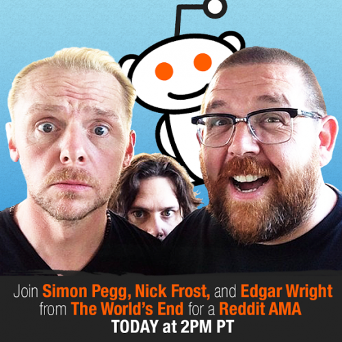 The World's End's Edgar Wright, Simon Pegg and Nick Frost will be on Reddit today!