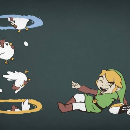 Let's hope PETA isn't watching Link using portals on chickens