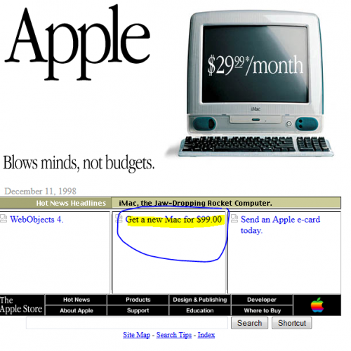 What Google looked like in 1998, and other popular sites
