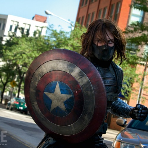 The Winter Soldier poses with Captain America's shield in new stills