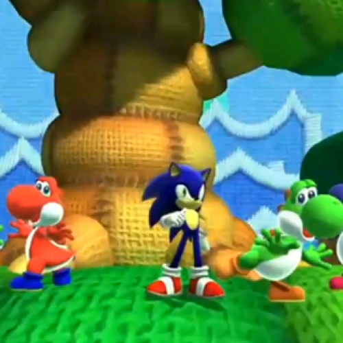 Sonic enters Yoshi's Island Zone in ​Sonic: Lost World
