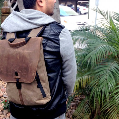 Staad Laptop BackPack safely takes your gear around in vintage style