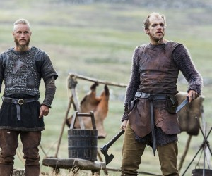 Vikings Ragnar Lothbrok (played by Travis Fimmel) and his friend Floki (Gustaf Skarsgard)