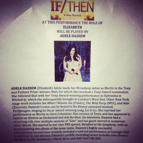 Idina Menzel's name changes to Adele Dazeem on the playbill of her If/Then musical