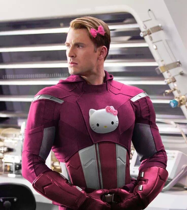 Look the avengers get new cute pink costumes as if by sanrio nerd hello kitty captain america solutioingenieria Gallery