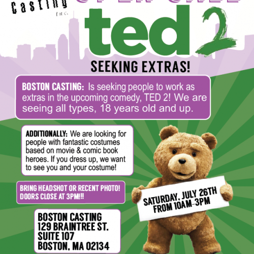 Ted 2 cosplay casting in Boston July 26th?
