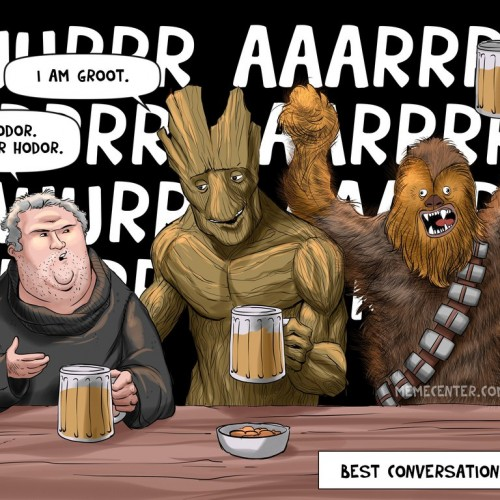 So Groot, Hodor and Chewbacca walk into a bar (comic)