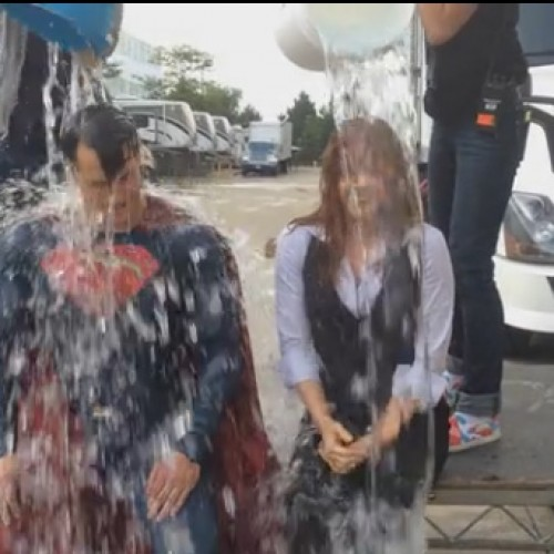 Henry Cavill does ALS Ice Bucket Challenge in his Superman outfit with Amy Adams