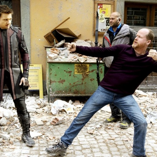 Official photo of Hawkeye and director Joss Whedon for Avengers: Age of Ultron