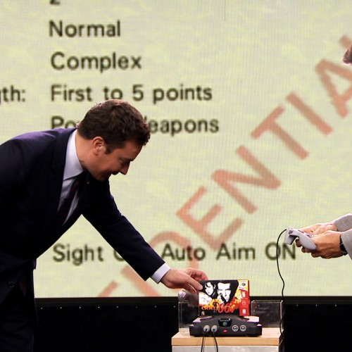 Jimmy Fallon challenges Pierce Brosnan to a game of N64's GoldenEye 007