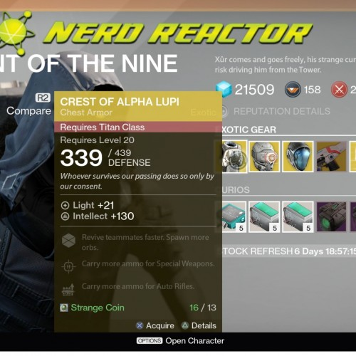 Destiny week 3 – Xur: Agent of The Nine's location and stock (video)