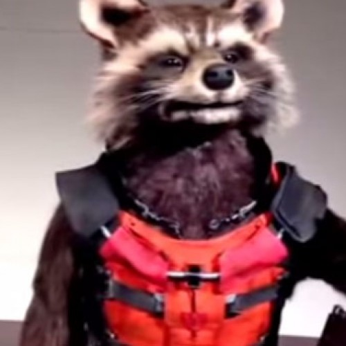 This Rocket Raccoon animatronic is creepy and cool at the same time