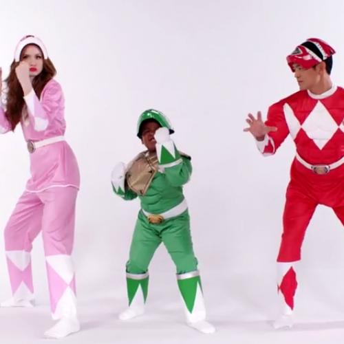 Check out Karen Gillan and John Cho dancing in Power Rangers costumes