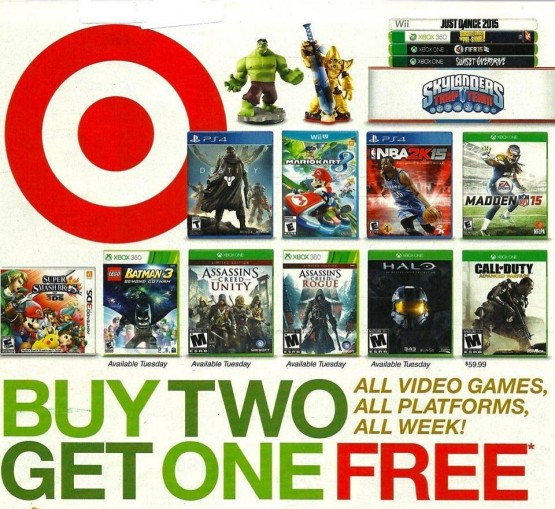 Target's buy 2 get 1 free video game starts next week