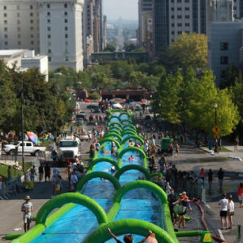 Slide the City, the giant slip-and-slide water party event