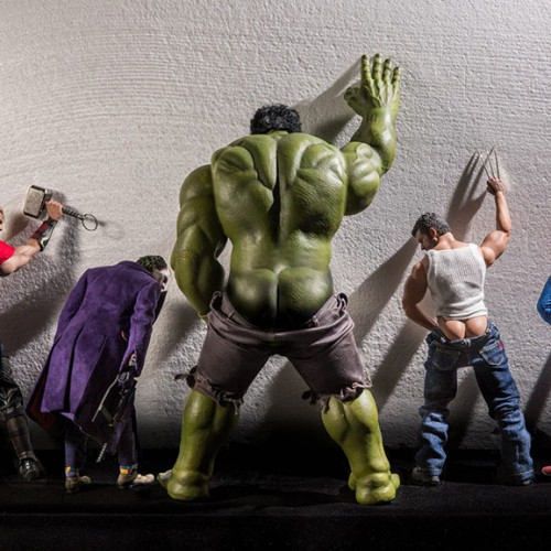 Marvel and DC superhero toys doing naughty and funny things