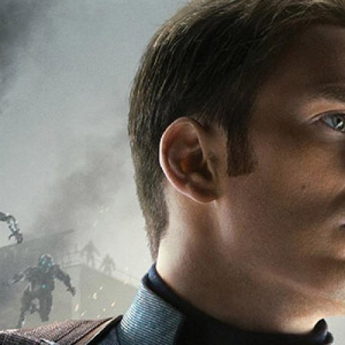 Chris Evans stands tall as Captain America in his Avengers: Age of Ultron character poster