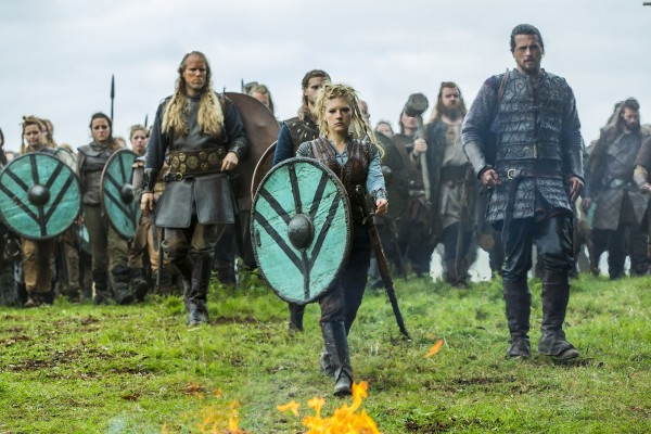 vikings Lagertha (Katheryn Winnick) and Kalf (Ben Robson)
