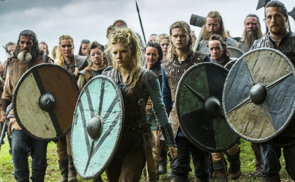 vikings Lagertha (played by Katheryn Winnick), Erlendur, (Edvin Endre), and Kalf (Ben Robson)
