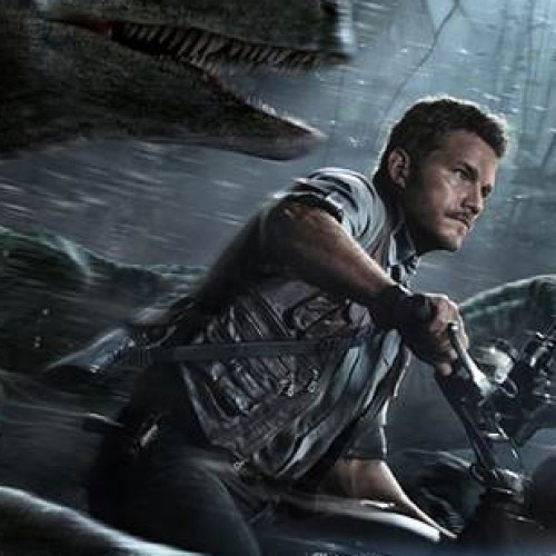 Chris Pratt rides with raptors in new Jurassic World poster