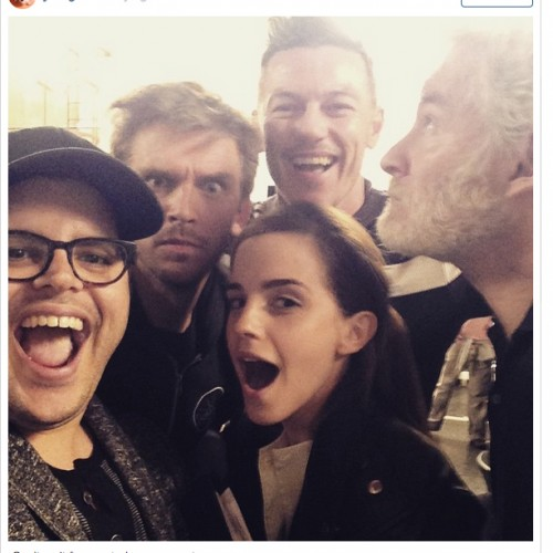 The cast of Disney's Beauty and the Beast movie does a selfie