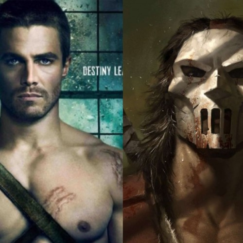 Stephen Amell on the TMNT 2 set as Casey Jones with hockey stick