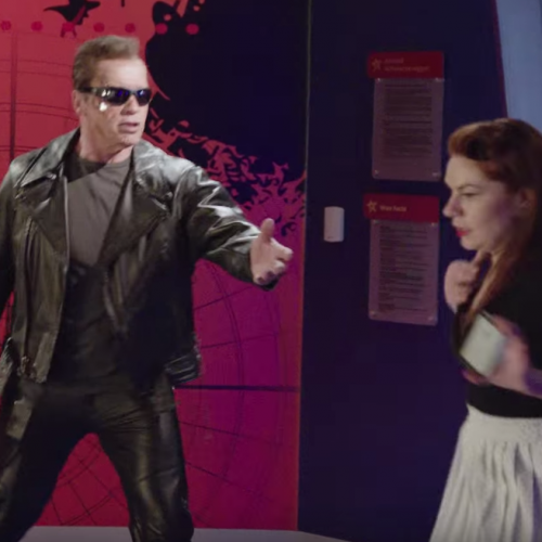 Arnold Pranks fans in Terminator Genisys make-up for a good cause
