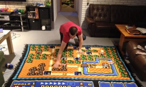 Norwegian man crochets impressive Mario map