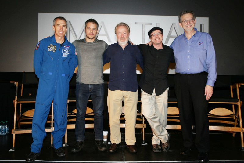 Astronaut Drew Feustel, Matt Damon, Director Ridley Scott, Andy Weir and Dr. Jim Green at the Twentieth Century Fox 'The Martian' Trailer Launch Event at United Artists La Canada Theater on Tuesday, August 18, 2015, in La Canada Flintridge, CA. (Photo by Eric Charbonneau/Invision for Twentieth Century Fox/AP Images)