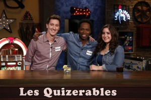 """GEEKS WHO DRINK -- """"Harold Perrineau VS. Zachary Knighton"""" Episode 107 -- Pictured: (l-r) Coburn Childs, Harold Perrineau, Jessica Gonzalez -- (Photo by: Carol Kaelson/Syfy)"""