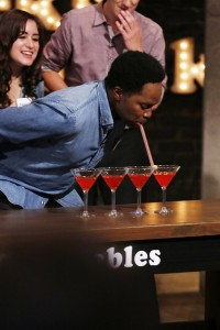 """GEEKS WHO DRINK -- """"Harold Perrineau VS. Zachary Knighton"""" Episode 107 -- Pictured: Harold Perrineau -- (Photo by: Carol Kaelson/Syfy)"""