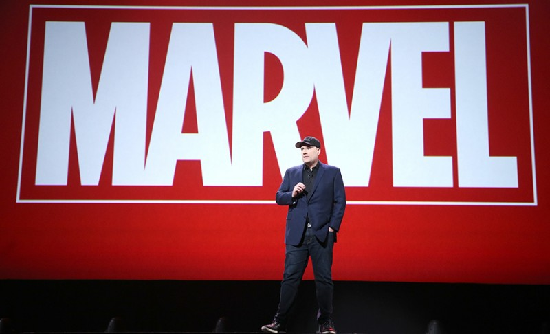 "ANAHEIM, CA - AUGUST 15: Producer Kevin Feige of CAPTAIN AMERICA: CIVIL WAR took part today in ""Worlds, Galaxies, and Universes: Live Action at The Walt Disney Studios"" presentation at Disney's D23 EXPO 2015 in Anaheim, Calif. (Photo by Jesse Grant/Getty Images for Disney)"